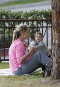Molly Sims with her son at the park in Beverly Hills, LA