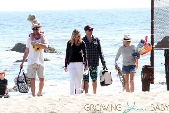 Naomi Watts seen with family and some friends at the beach in Los Angeles