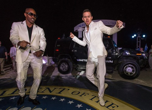 Channing Tatum and Jamie Foxx at photocall for White house down