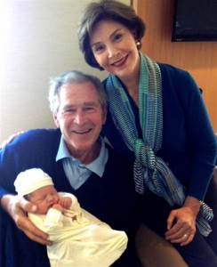 George and Laura Bush with their granddaughter Margaret
