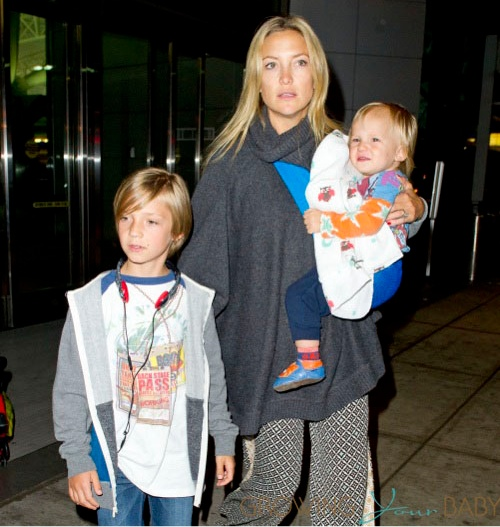 Kate Hudson at JFK with her sons Ryder & Bingham