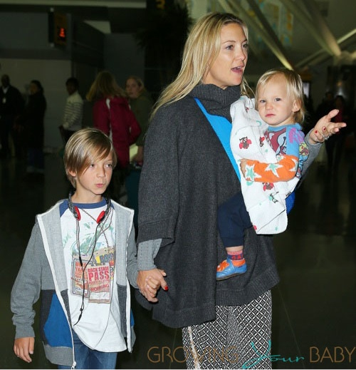 Kate Hudson at JFK with her sons Ryder and Bingham