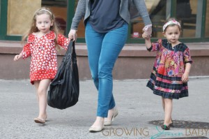 Sarah Jessica Parker's twins Marion and Tabitha Broderick wear pretty colorful frock dresses on their way to school in New York City