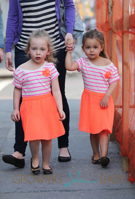Sarah Jessica Parker's twins Tabitha and Loretta Broderick seen out and about in the West Village in New York