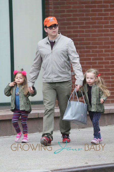 Matthew Broderick walking his twin daughters Tabitha and Marion to school in New York City