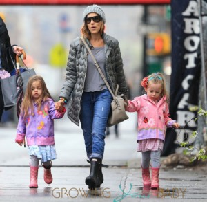 Sarah Jessica Parker takes her colorful twin daughters to school in NYC