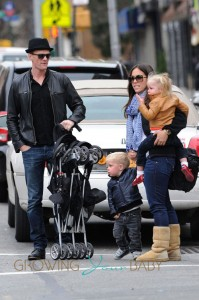 Neil Patrick Harris hails a taxi cab with his twins in Manhattan