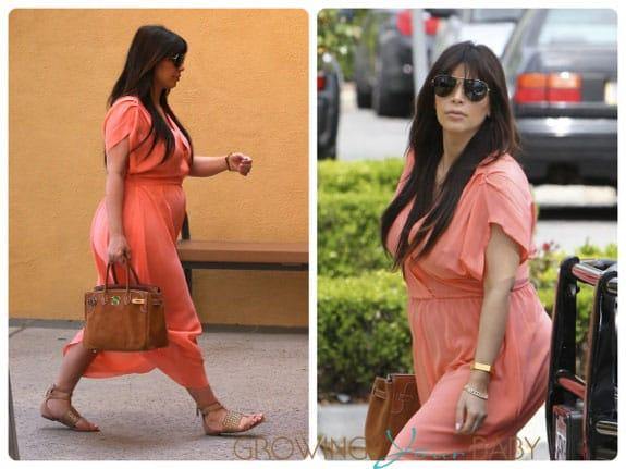 Pregnant Kim Kardashian out in Calabasas