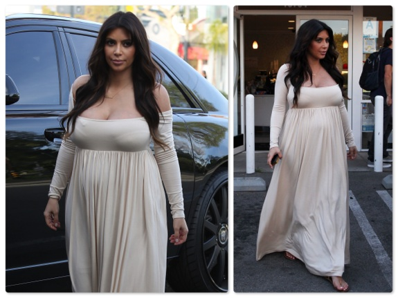 Pregnant Kim Kardashian stops for Frozen Yogurt