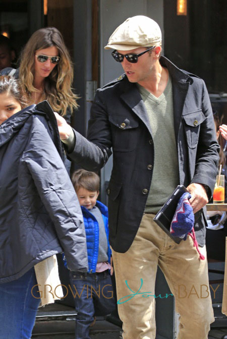 Gisele Bundchen and Tom Brady bring their kids Benjamin and baby daughter Vivian to Extra Virgin restaurant in New York City