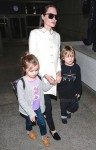 Angelina Jolie at LAX with twins Vivienne & Knox