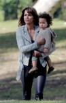 Halle Berry takes a break from filming 'Extant' to take baby Maceo to the park to see the ducks
