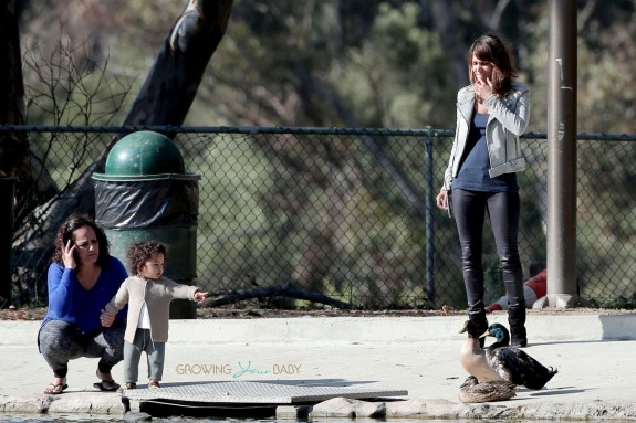 EXCLUSIVE: Halle Berry takes a break from filming 'Extant' to take baby Maceo to the park to see the ducks