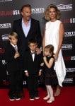 Kevin Costner and Christine Baumgartner with kids Grace Avery, Hayes & Cayden Costner at McFarland USA Premiere