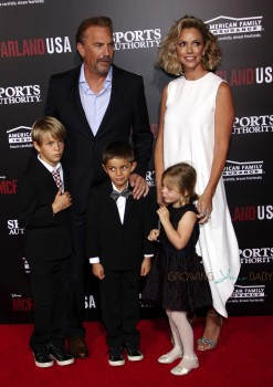 Kevin Costner and Christine Baumgartner with kids Grace Avery, Hayes & Cayden Costner at McFarland USA Premiere