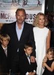 Kevin Costner and Christine Baumgartner with kids Grace Avery, Hayes and Cayden Costner at McFarland USA Premiere