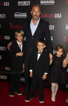 Kevin Costner with kids Grace Avery, Hayes and Cayden Costner at McFarland USA Premiere