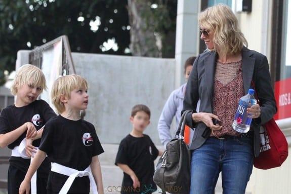 Naomi Watts picks up her sons Sammy and Sasha at Karate