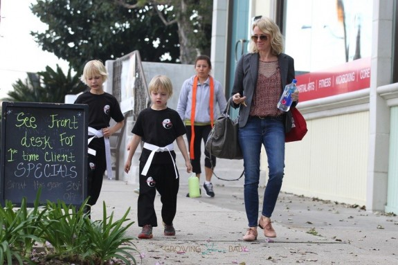 Naomi Watts picks up her sons Sammy and Sasha at Karate