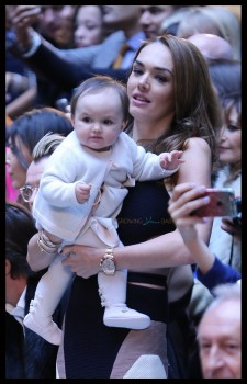 Tamara Ecclestone and her baby on the front row at the Julien Macdonald show at London Fashion Week A/W 15-Day two