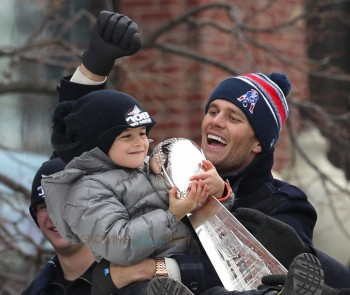 Tom Shares The Lombardi Trophy With His Son Benjamin