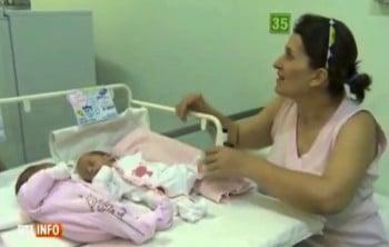 romanian twins born 7 weeks apart