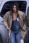 A very pregnant Jessica Biel on the set of her new movie The Devil and The Deep Blue Sea