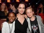 Angelina Jolie with daughter Zahara and Shiloh at the Nickelodeon Kids Choice Awards