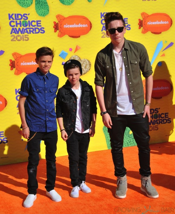 Cruz, Romeo and Brooklyn Beckham at The Nickelodeon Kid's Choice Awards