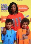 Garcelle Beauvais with sons Jax and Jaid Nilon at the Nickelodeon Kid's Choice Awards