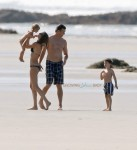 Gisele Bundchen and Tom Brady take a stroll on the beach in Costa Rica with their kids Ben and Vivian