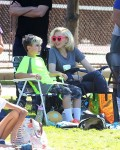 Gwen Stefani with Kingston at his soccer game