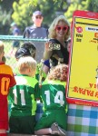 Gwen stefani and son Apollo at her boys soccer game
