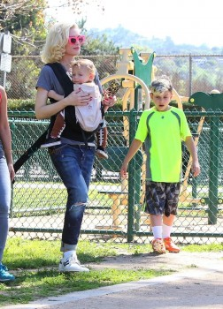 Gwen stefani and sons Apollo and Kingston at her boys soccer game