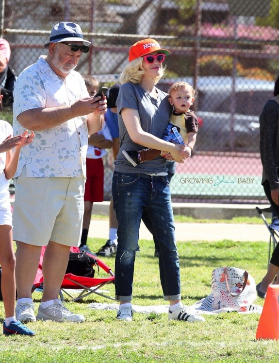 Gwen stefani with son Apollo at her boys soccer game