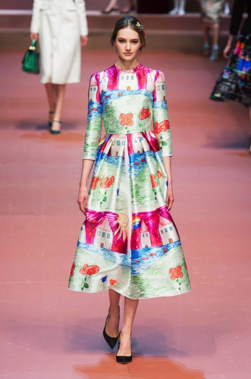 MFW Autumn:Winter 2015 - Dolce & Gabbana - Viva La Mamma - Child's drawing dress