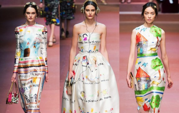 MFW Autumn:Winter 2015 - Dolce & Gabbana - Viva La Mamma - drawings dress collage