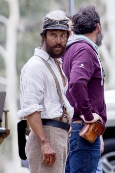 Matthew McConaughey is seen in character for his Civil War drama 'The Free State Of Jones' in New Orleans