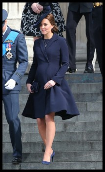 Pregnant Duchess of Cambridge Kate Middleton attends  a Service of Commemoration London