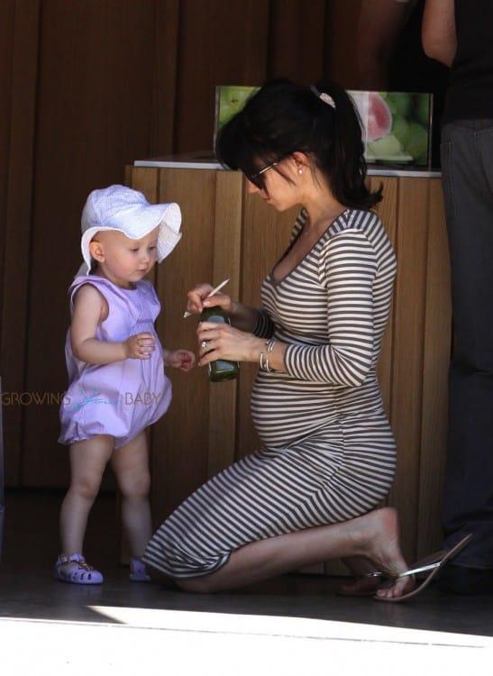 Pregnant Hilaria Baldwin with daughter Carmen out in LA