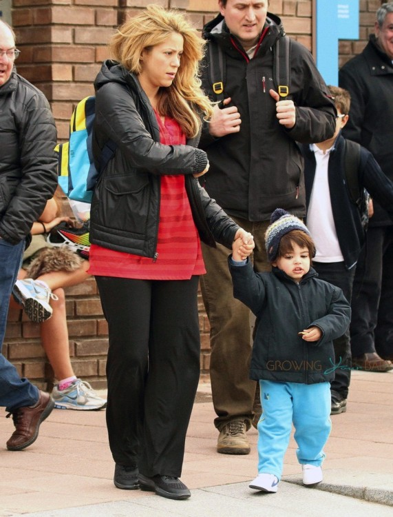 Shakira picks up her son Milan from school