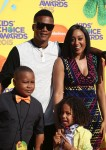 Tia Mowry-Hardrict with husband Cory and son Cree at the Nickelodeon Kid's Choice Awards