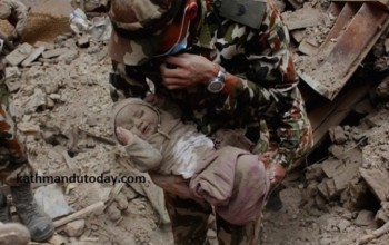 Baby Rescued From The Rubble in Nepal