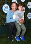Cobi Jones with son Caden  at The Safe Kids Day in Los Angeles