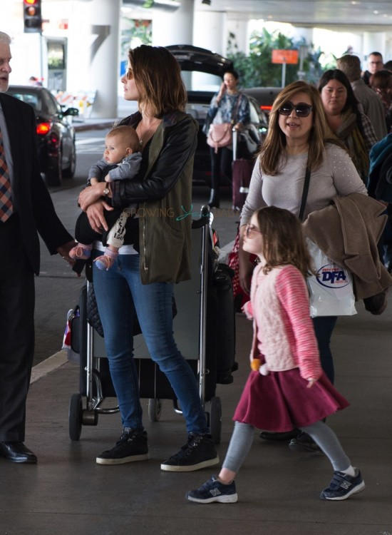 Cobie Smulders with newborn son and daughter Shaelyn at LAX