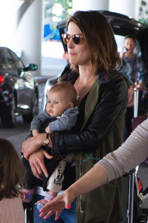 Cobie Smulders with newborn son at LAX