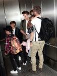 David Beckham with kids Cruz, Romeo and Brooklyn,  Harper at LAX