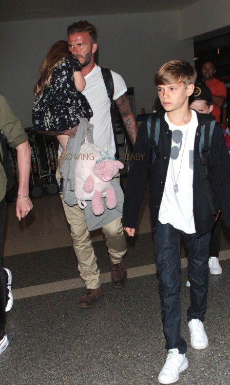 David Beckham with kids Cruz, Romeo and Harper at LAX
