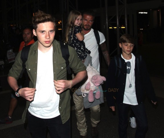 David Beckham with kids Romeo and Brooklyn,  Harper at LAX