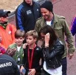 David & Victoria Beckham with sons Brooklyn and Cruz at Romeo's mini London Marathon